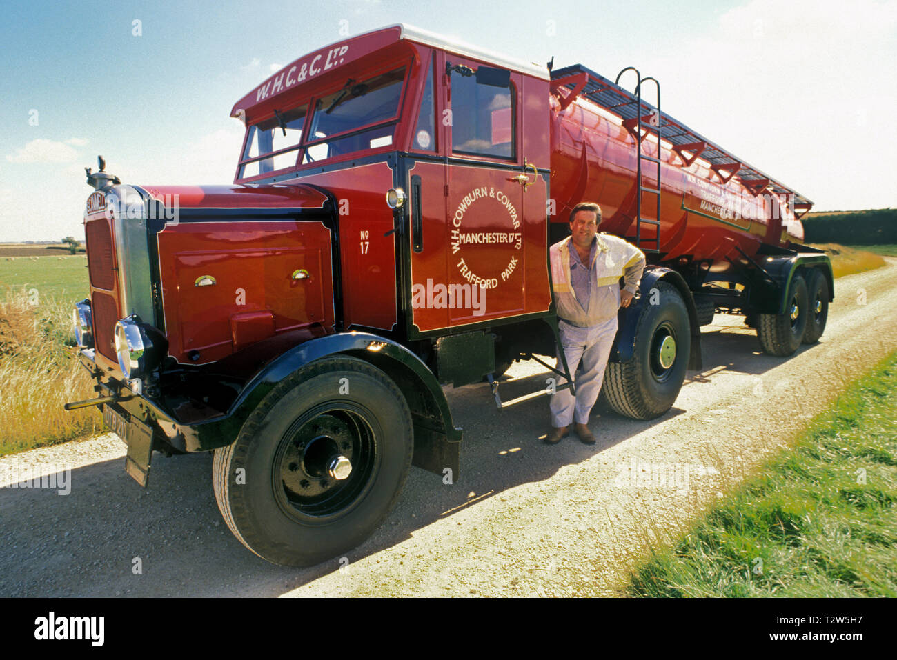 1950's Scammell Highwayman tractor unit with tanker trailer. Stock Photo