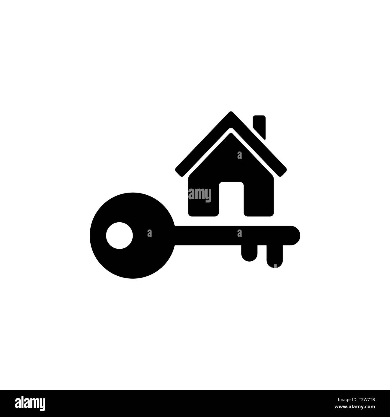 Home Key Icon In Flat Style Simple Estate Symbol Isolated