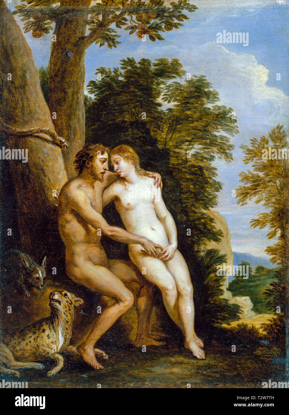 Adam and Eve in Paradise, painting by David Teniers the Younger, c. 1650s - Stock Image