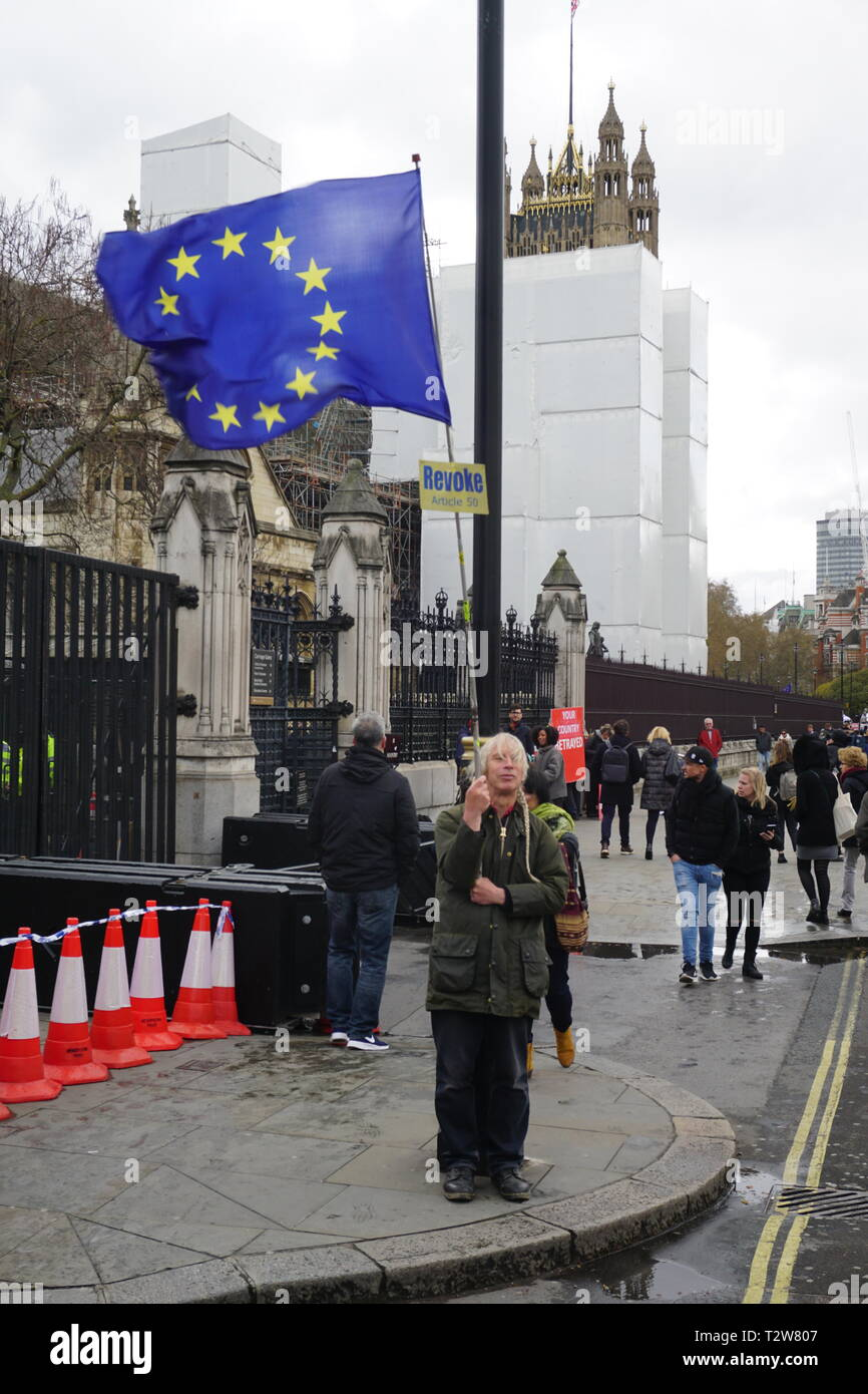 Small numbers of EU and Brexit supporters voice their support at the House of Parliament in Westminster, London, UK. 4th April 2019 - Stock Image