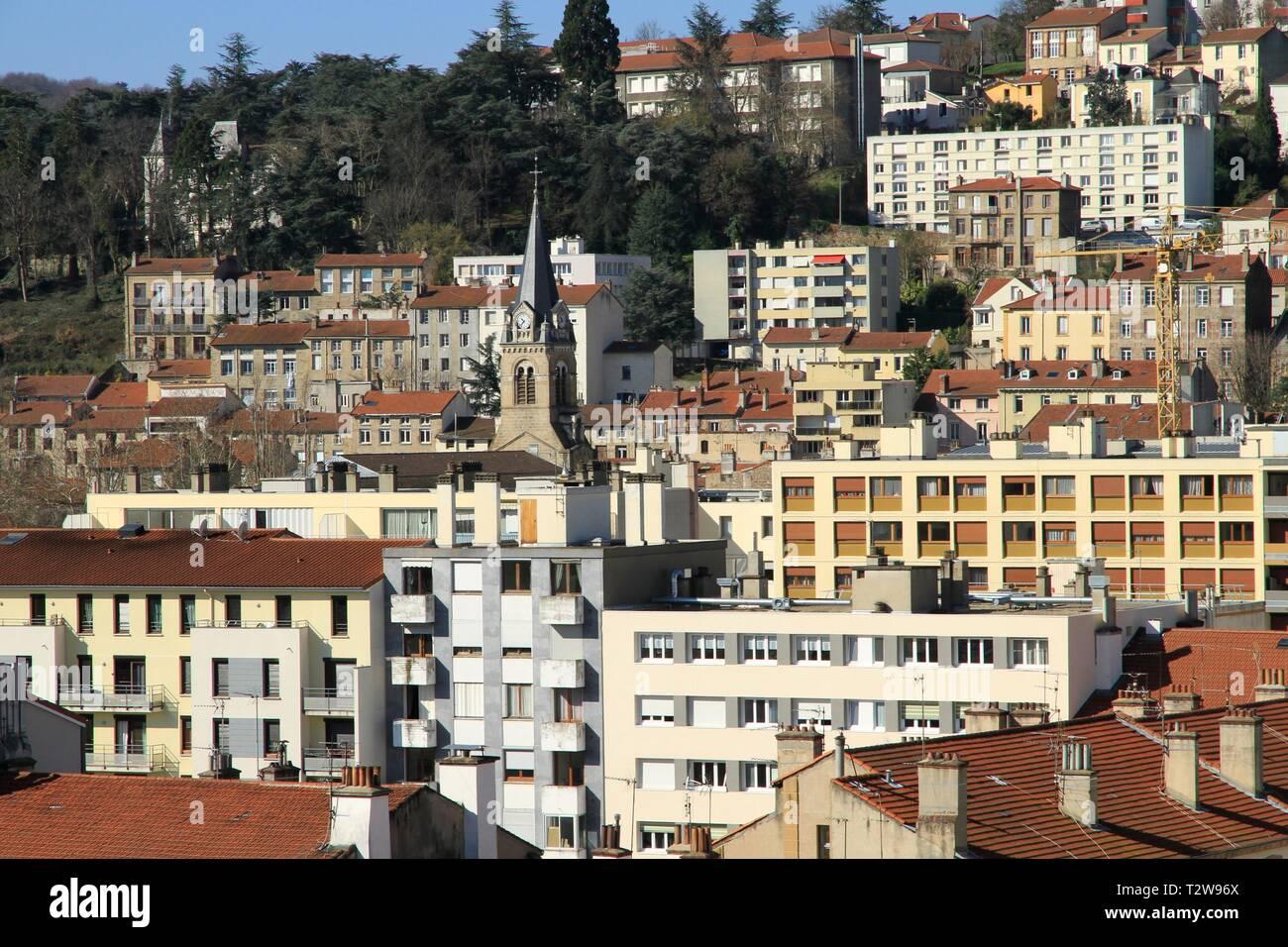 Illustration of the city of Saint Etienne, Montaud - Grand Clos district. Saint Etienne, Loire, France Stock Photo