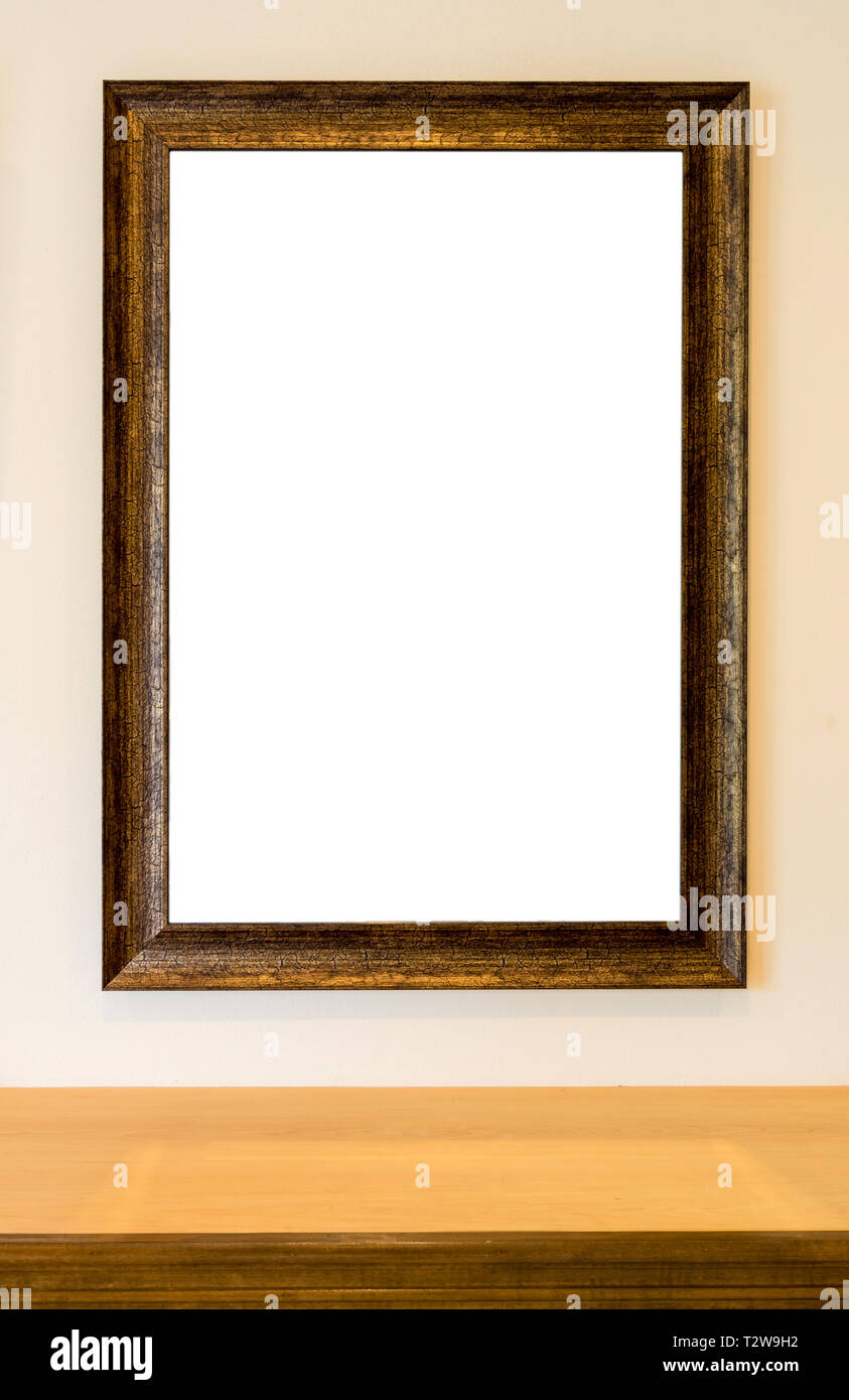 The Blank Wooden Picture Frame On The Wall Over The Wooden Shelf