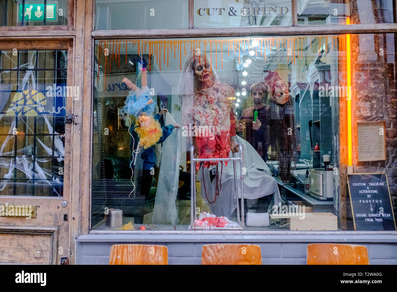 Halloween Shop Displays.Barber Shop Gory Halloween Window Display Stock Photo 242731120 Alamy