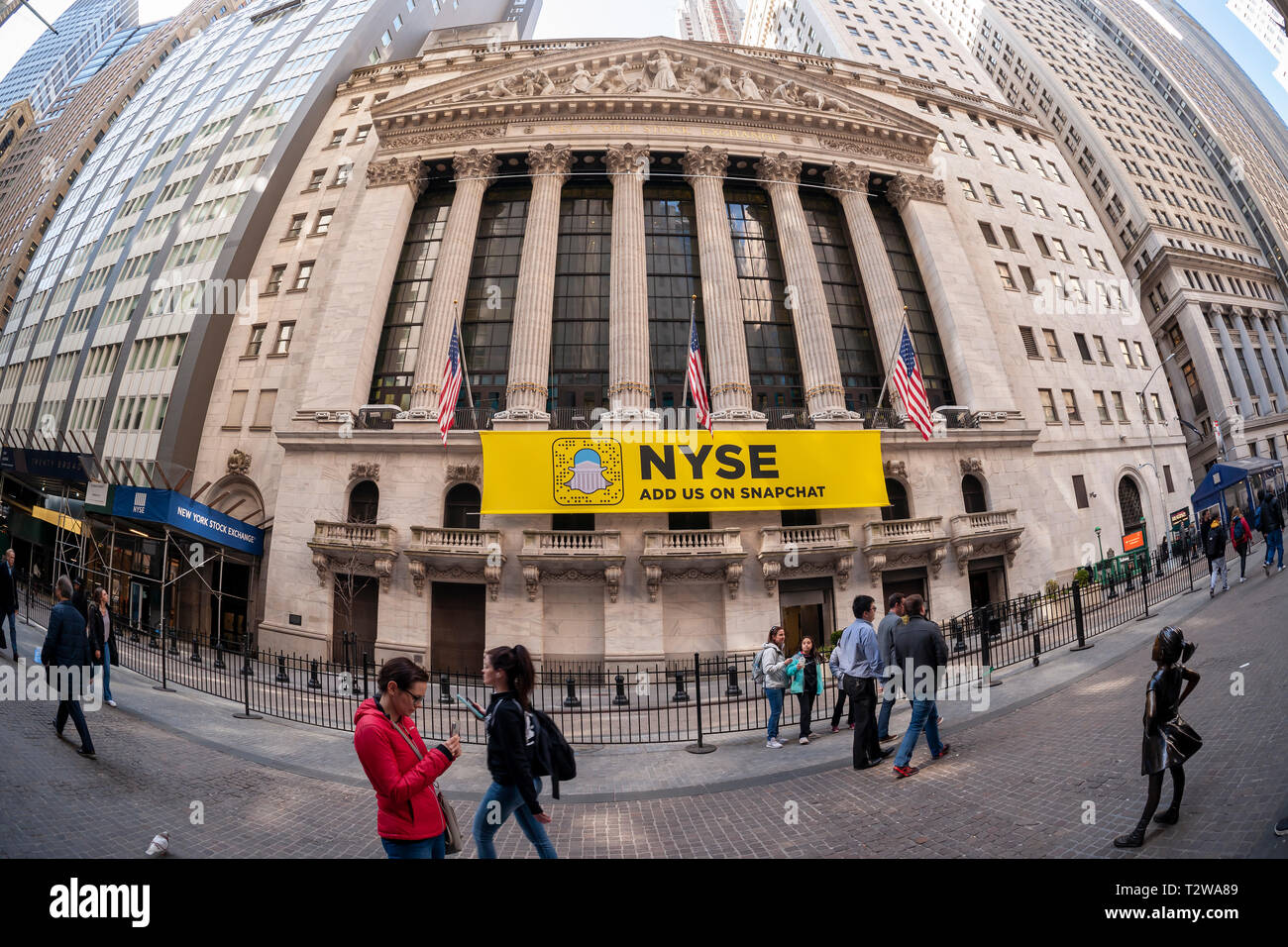 The New York Stock Exchange, decorated with a banner
