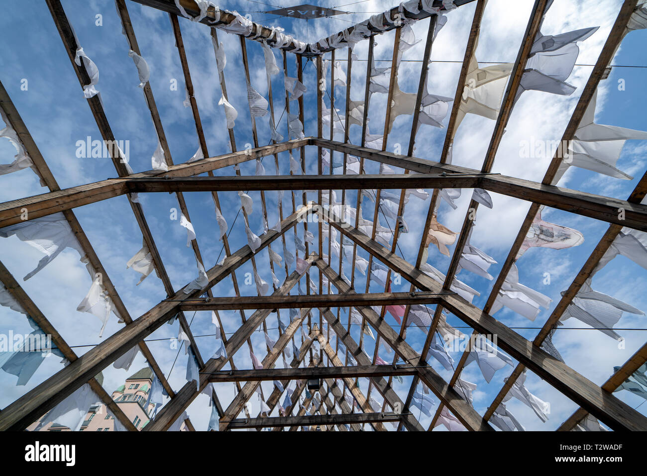 Oslo, Norway- September 23, 2018: The new harbour promenade in oslo has some nice sites like the Arctic Pyramid, wich is is a long fish rack used to h - Stock Image