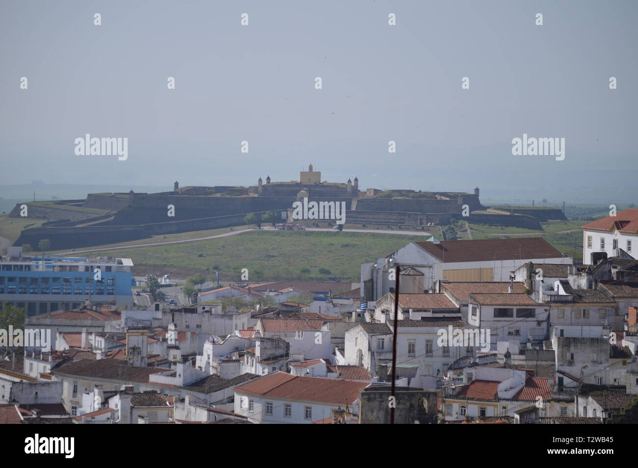 General Views of the Fort of Our Lady of Grace in Elvas. Nature, Architecture, History, Street Photography. April 11, 2014. Elvas, Portoalegre, Portug - Stock Image