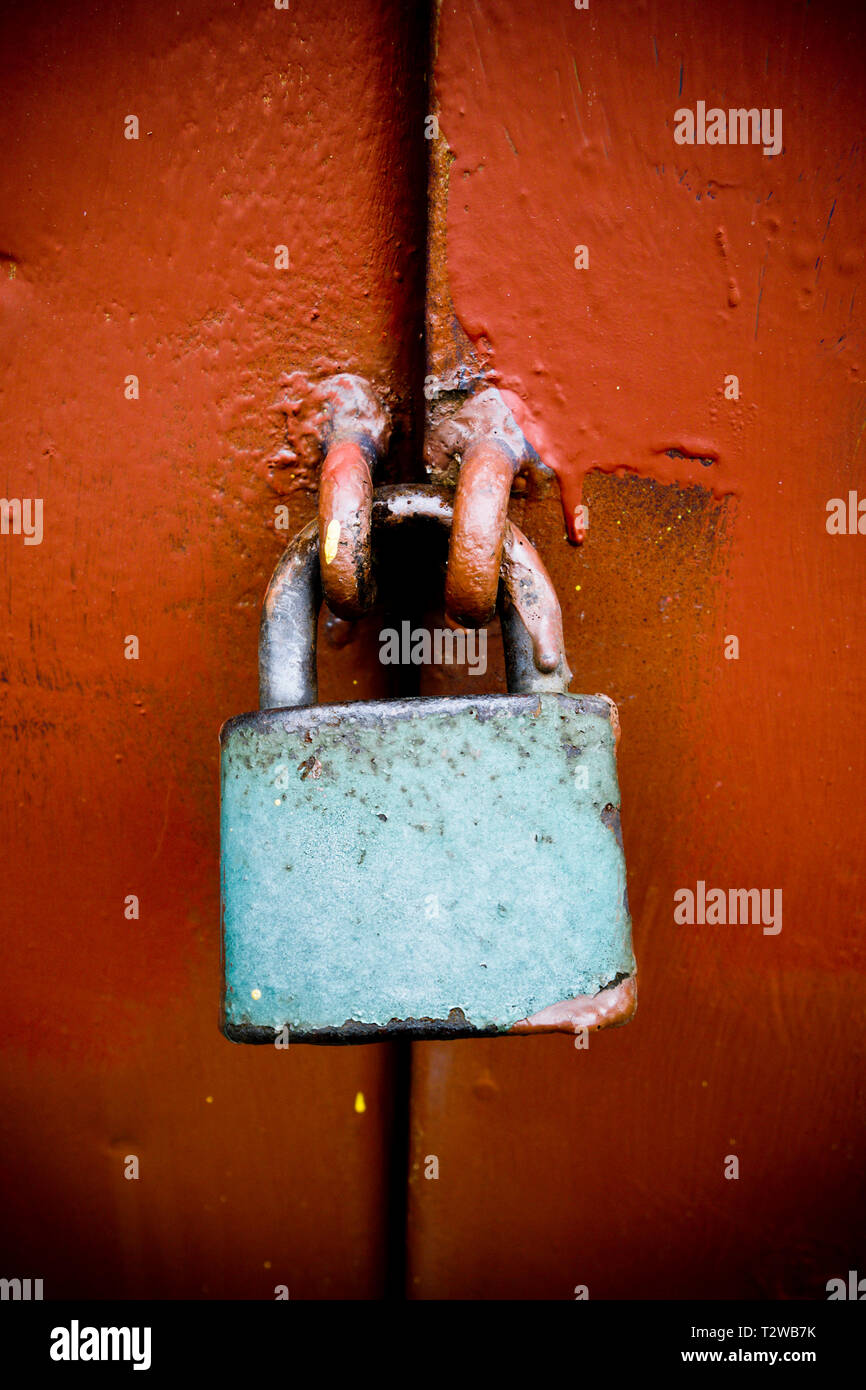 close up of a blue metal lock - Stock Image