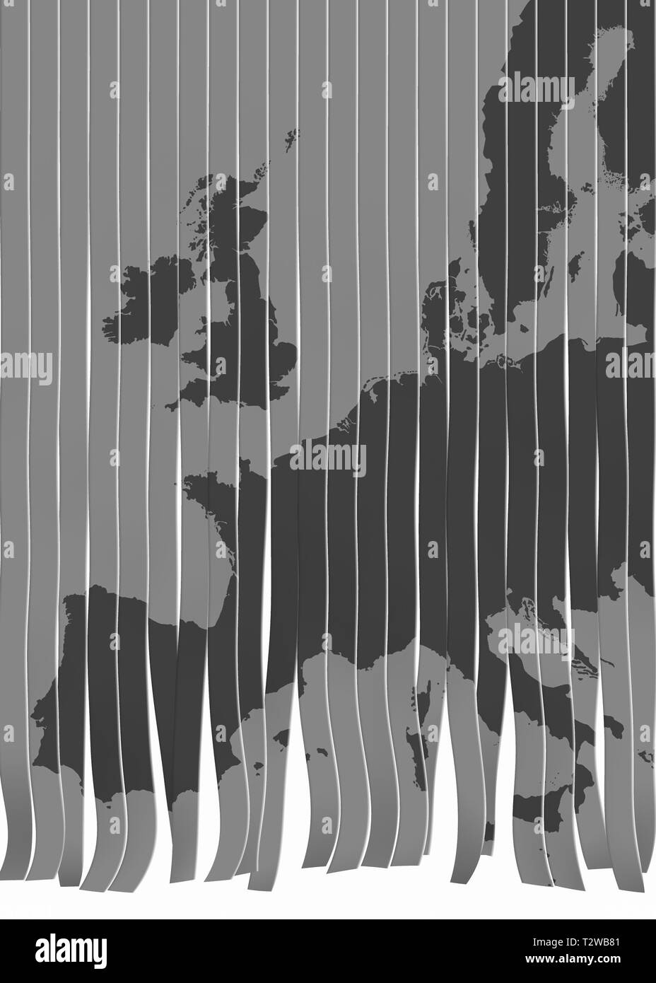 map of Europe trimmed as concept for European union in crisis - Stock Image