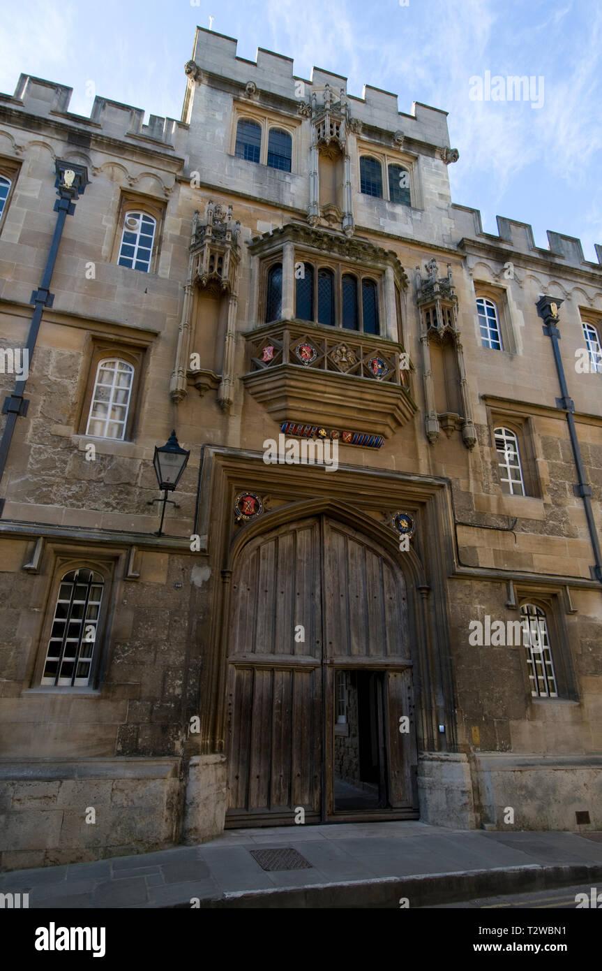 Main entrance to Corpus Christi College in Merton Street, Oxford, Britain - Stock Image