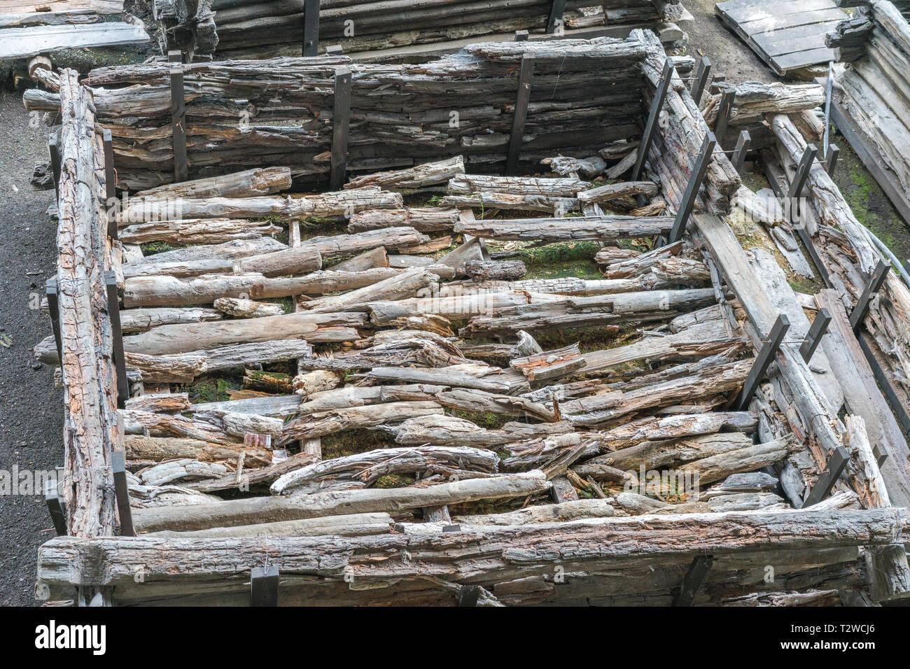 Brest, Belarus - July 28, 2018: Berestye Archeological Museum - East Slavic wooden town from 13th century. - Stock Image