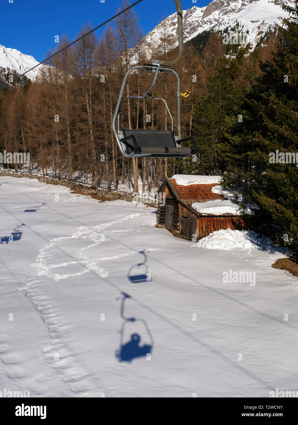 skilift and piste, skiing area Hochimst, Imst, Tyrol, Austria, Europe Stock Photo