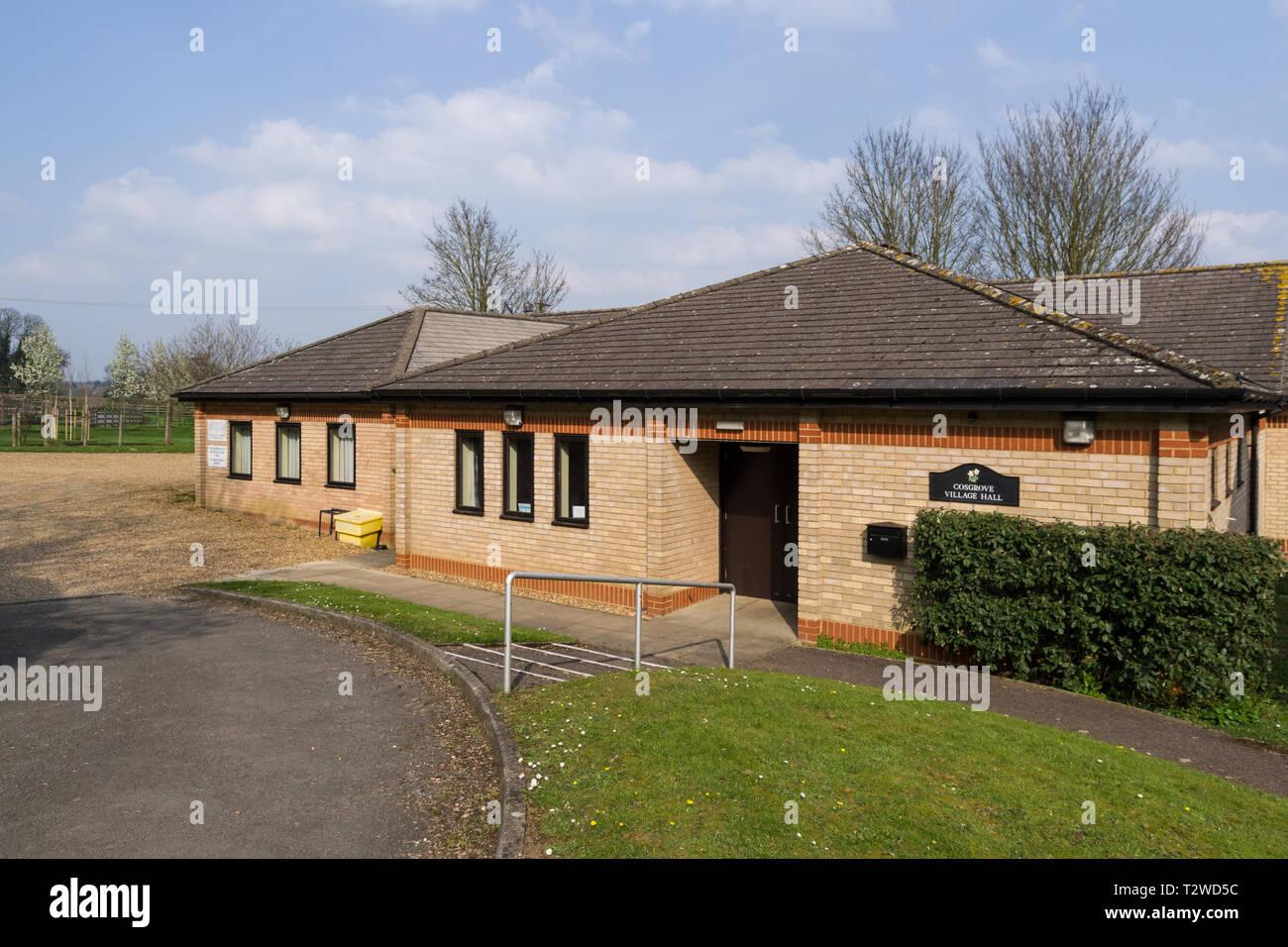 The village hall, Cosgrove, Northamptonshire, UK - Stock Image