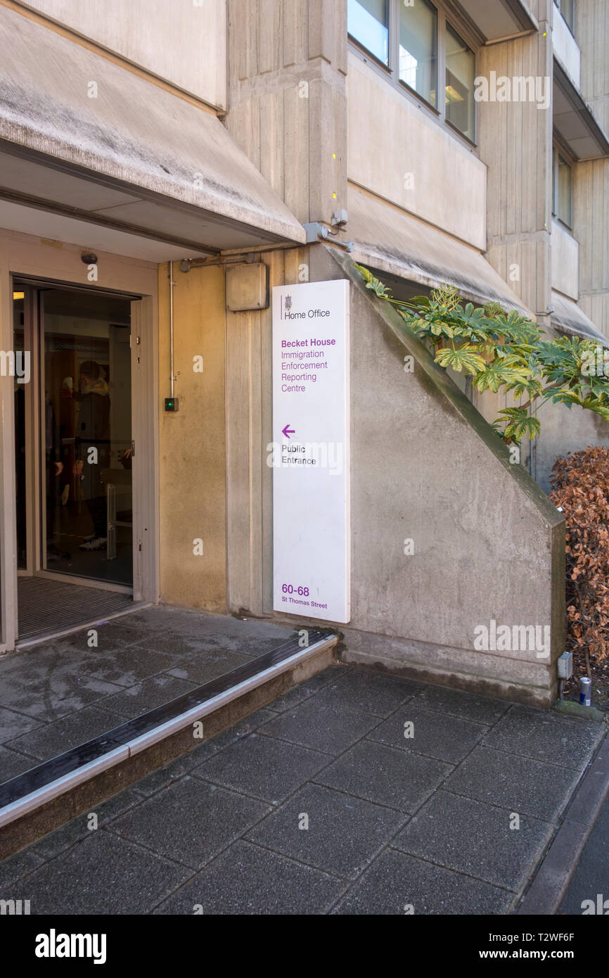 Sign outside the Home Office Immigration Centre, Becket House Reporting Centre, St Thomas St, London, UK - Stock Image