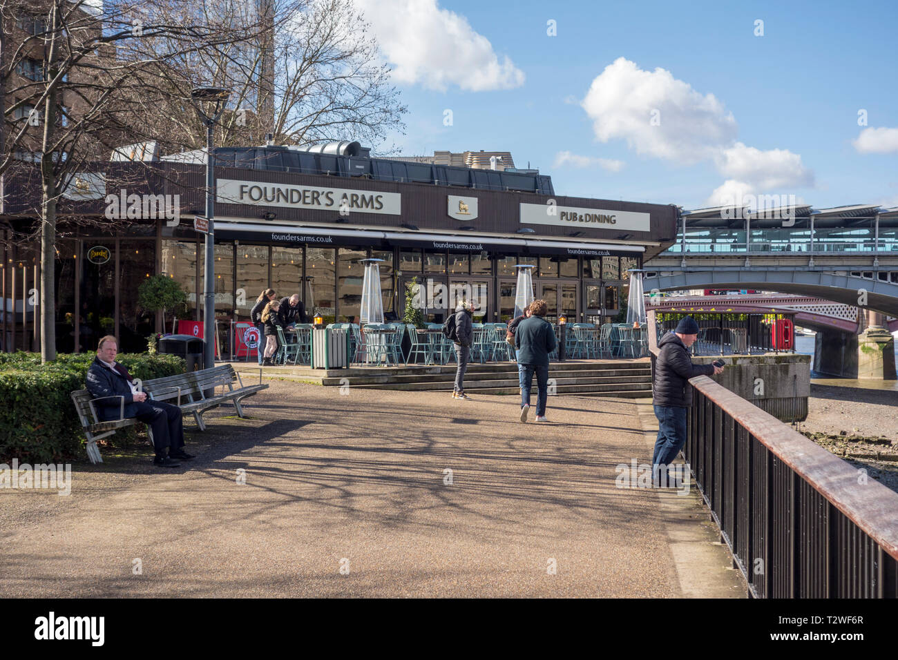 The Founder's Arms, Bankside, Southwark, South Bank, London, UK - Stock Image
