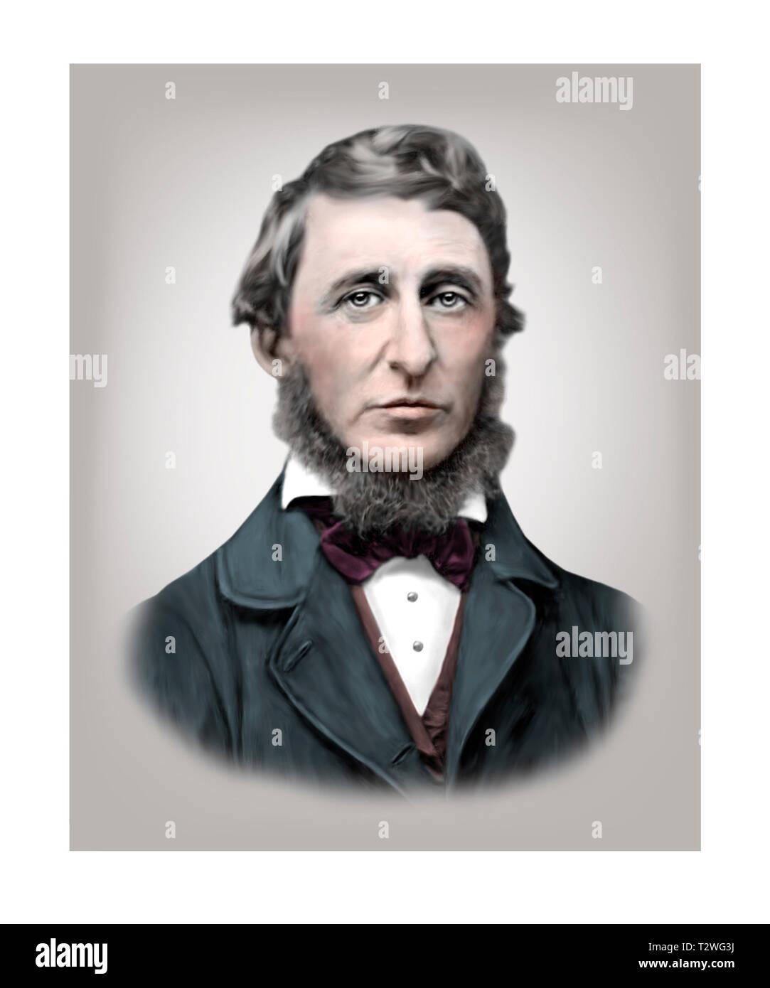 Henry David Thoreau 1817-1862 American Essayist Poet Philosopher - Stock Image