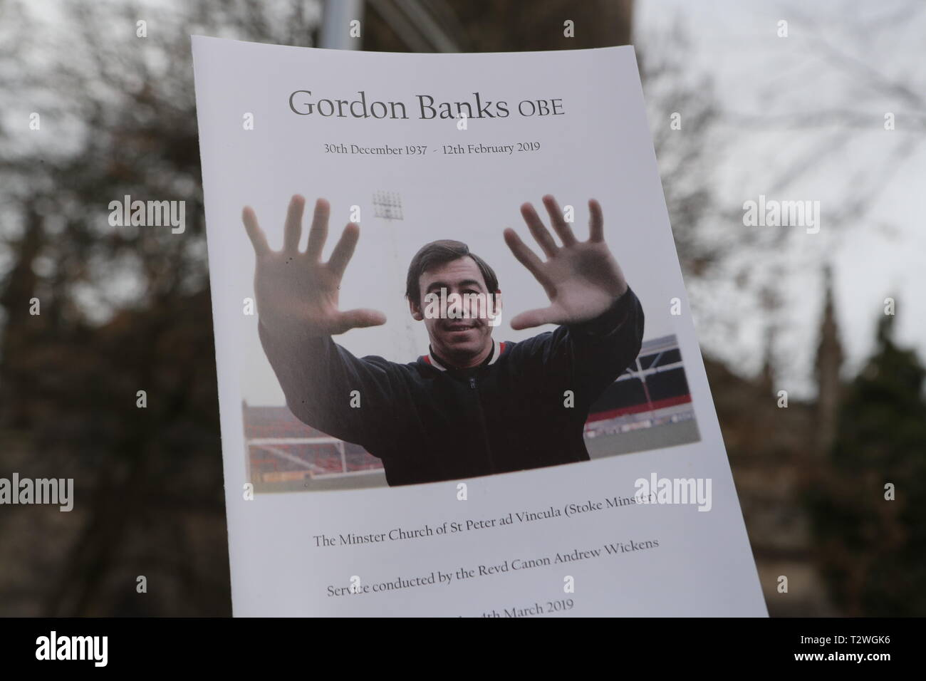 The funeral of England's World Cup winning goalkeeper Gordon Banks at Stoke Minster  Featuring: Atmosphere Where: Stoke-upon-Trent, Staffordshire, United Kingdom When: 04 Mar 2019 Credit: John Rainford/WENN - Stock Image