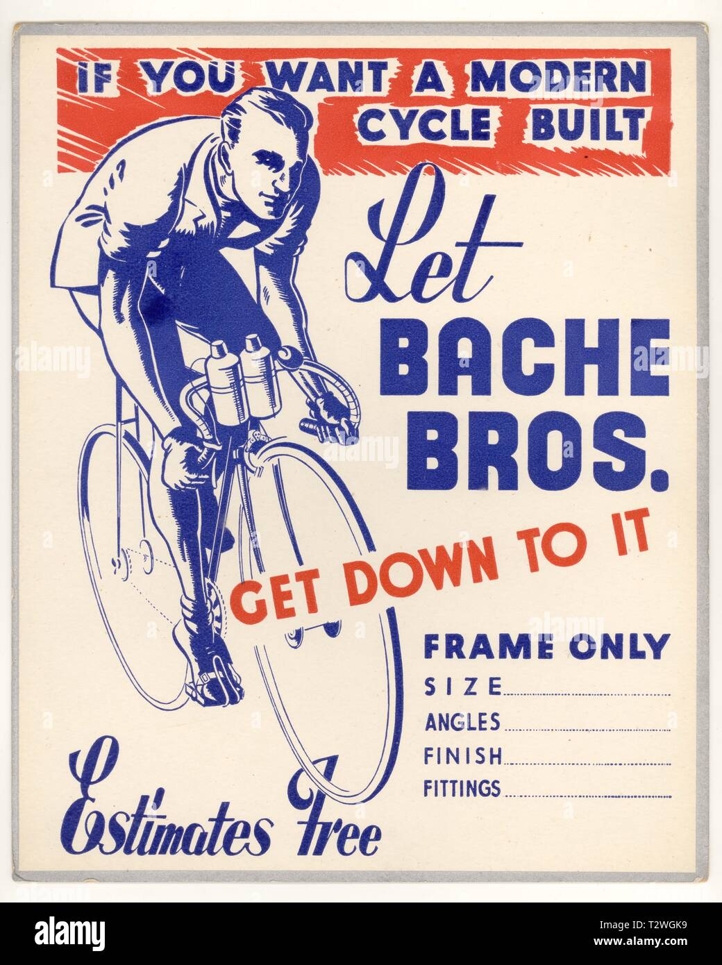 1950's Bache Bros. of Stourbridge, Bicycle Counter top notice or display board, modern cycles built, W. Midlands, U.K. - Stock Image