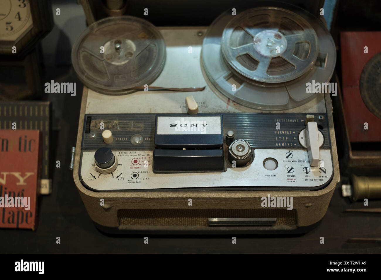 An old Reel-to-Reel Sony Tape Recorder on display at Phuket Taihua Museum,  a museum of The overseas Chinese in Phuket, Thailand. - Stock Image