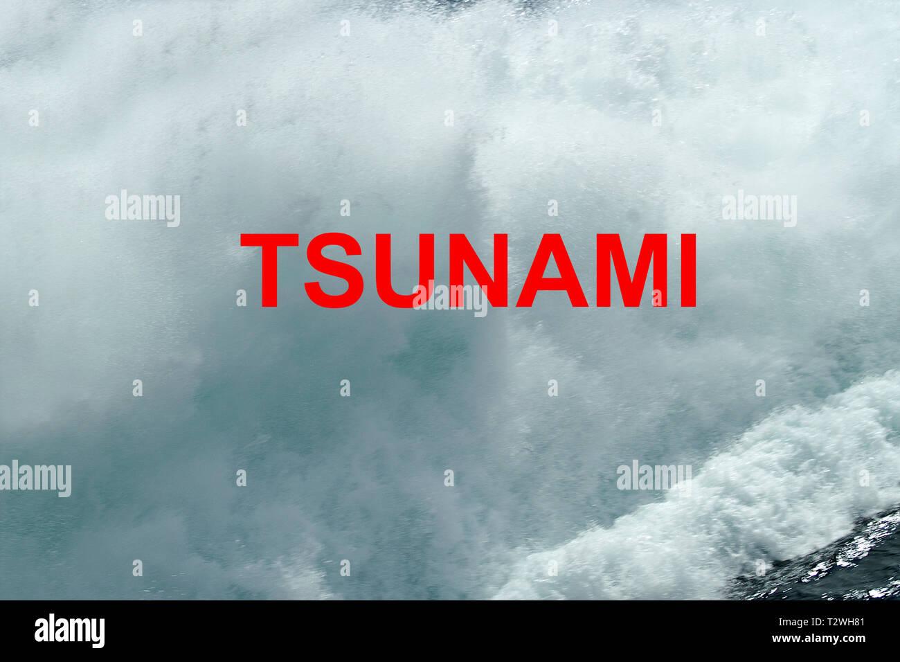 tsunami, tidal wave, seismic sea wave Stock Photo
