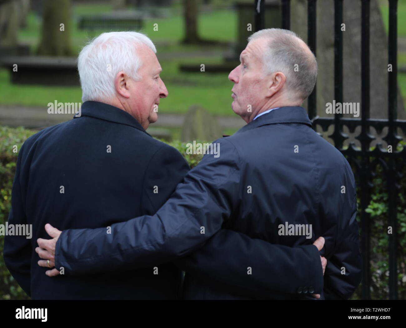 The funeral of England's World Cup winning goalkeeper Gordon Banks at Stoke Minster  Featuring: Mike Summerbee, Sir Geoff Hurst Where: Stoke-upon-Trent, Staffordshire, United Kingdom When: 04 Mar 2019 Credit: John Rainford/WENN - Stock Image