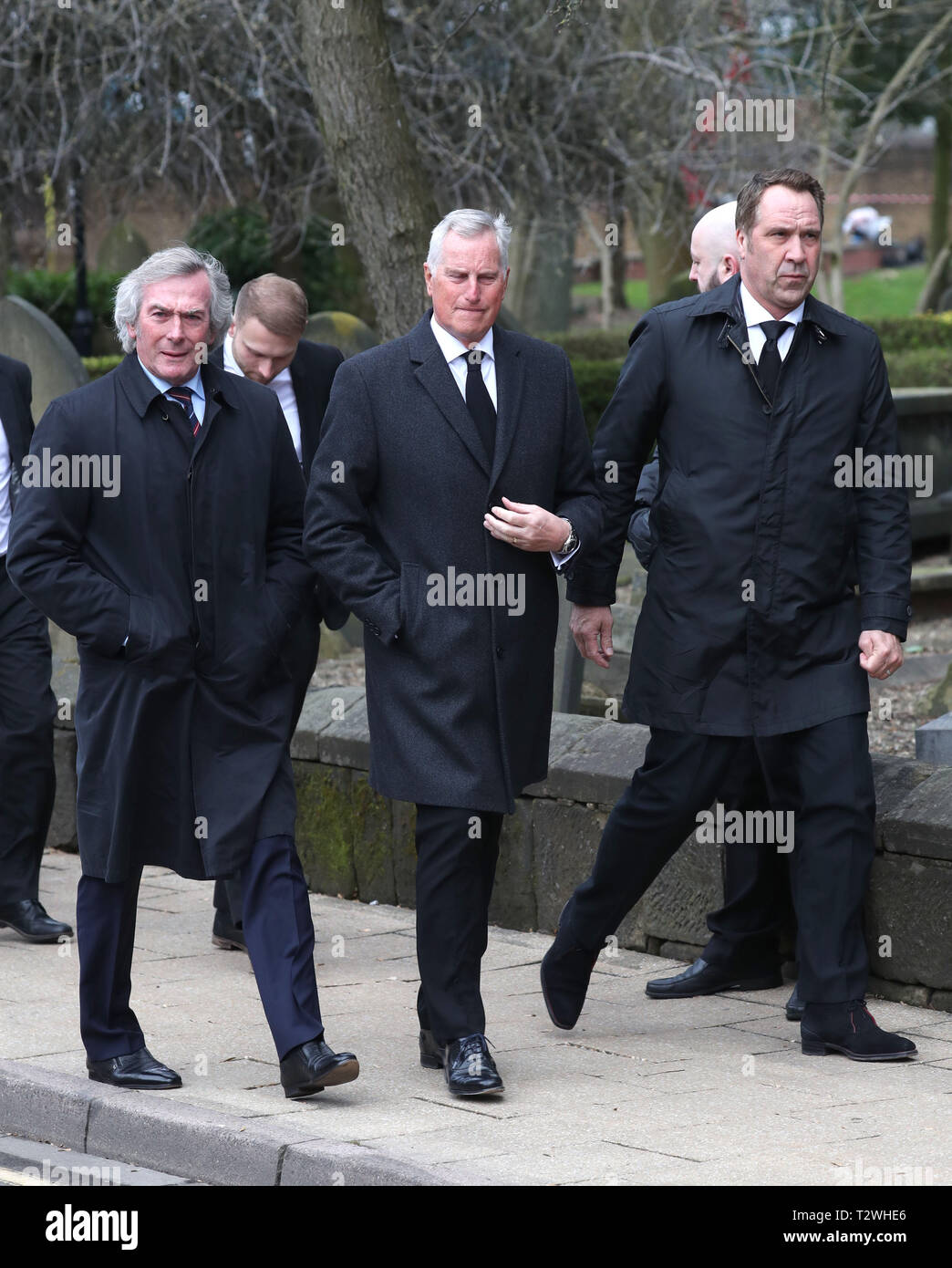 The funeral of England's World Cup winning goalkeeper Gordon Banks at Stoke Minster  Featuring: Pat Jennings, Ray Clemence, David Seaman Where: Stoke-upon-Trent, Staffordshire, United Kingdom When: 04 Mar 2019 Credit: John Rainford/WENN - Stock Image