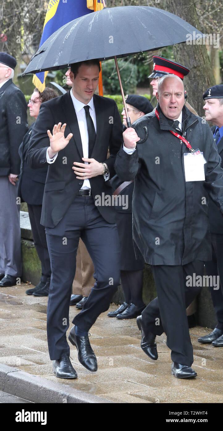 The funeral of England's World Cup winning goalkeeper Gordon Banks at Stoke Minster  Featuring: Asmir Begovic Where: Stoke-upon-Trent, Staffordshire, United Kingdom When: 04 Mar 2019 Credit: John Rainford/WENN - Stock Image