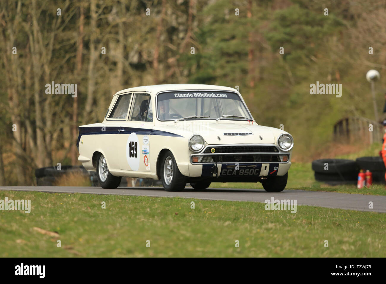 A 1965 Lotus Cortina taking part in a hillclimb event in the UK. Stock Photo