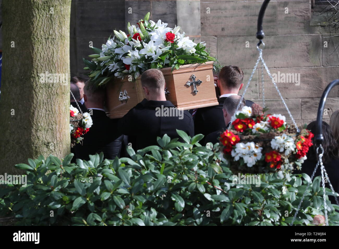 The funeral of England's World Cup winning goalkeeper Gordon Banks at Stoke Minster  Featuring: Joe Anyon, Kasper Schmeichel, Joe Hart, Jack Butland Where: Stoke-upon-Trent, Staffordshire, United Kingdom When: 04 Mar 2019 Credit: John Rainford/WENN - Stock Image