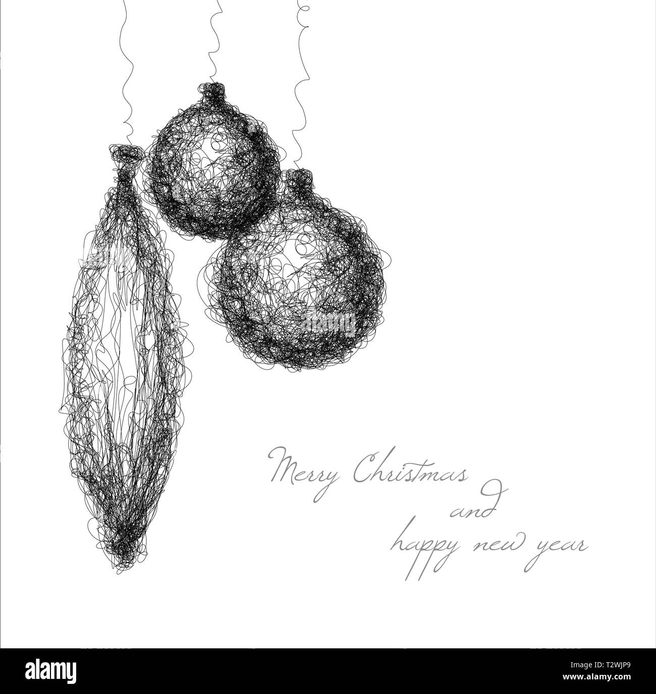 Vector Christmas Decoration Simple Continuous Line Drawing