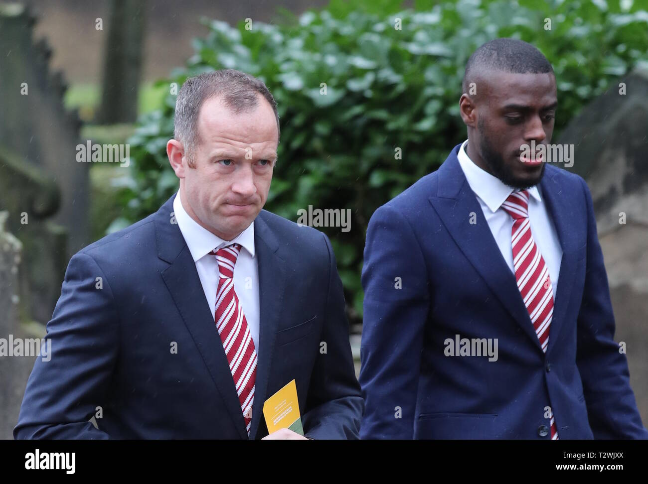 The funeral of England's World Cup winning goalkeeper Gordon Banks at Stoke Minster  Featuring: Charlie Adams, Bruno Martins Indi Where: Stoke-upon-Trent, Staffordshire, United Kingdom When: 04 Mar 2019 Credit: John Rainford/WENN - Stock Image