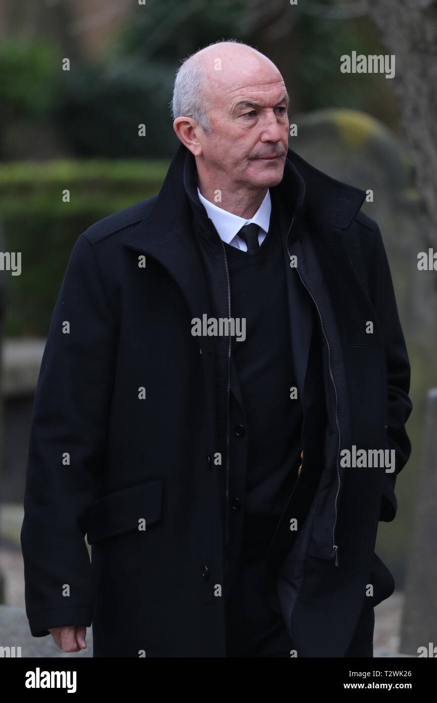 The funeral of England's World Cup winning goalkeeper Gordon Banks at Stoke Minster  Featuring: Tony Pulis Where: Stoke-upon-Trent, Staffordshire, United Kingdom When: 04 Mar 2019 Credit: John Rainford/WENN - Stock Image
