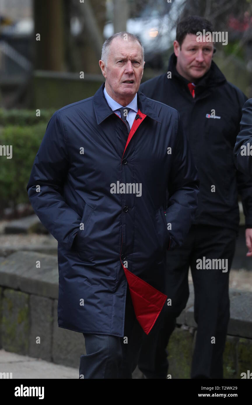 The funeral of England's World Cup winning goalkeeper Gordon Banks at Stoke Minster  Featuring: Sir Geoff Hurst Where: Stoke-upon-Trent, Staffordshire, United Kingdom When: 04 Mar 2019 Credit: John Rainford/WENN - Stock Image
