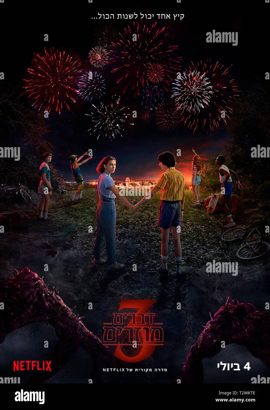 STRANGER THINGS 2016- serie TV creee par Matt Duffer et Ross Duffer affiche israelienne de la saison 3 Prod DB © Netflix - 21 Laps Entertainment / DR - Stock Image