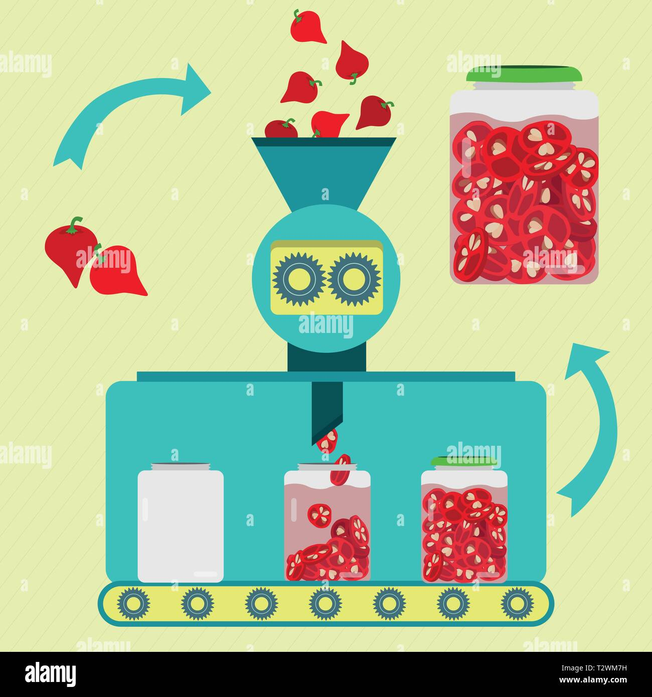 Pickles series production. Fresh pepper pout being processed and sliced. Bottled pickled sliced pepper pout. - Stock Vector