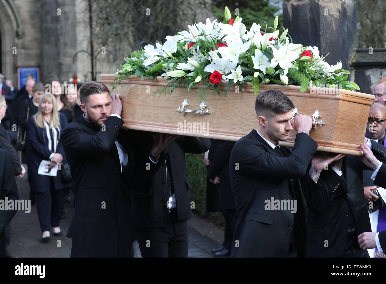 The funeral of England's World Cup winning goalkeeper Gordon Banks at Stoke Minster  Featuring: Jack Butland, Joe Anyon Where: Stoke-upon-Trent, Staffordshire, United Kingdom When: 04 Mar 2019 Credit: John Rainford/WENN - Stock Image