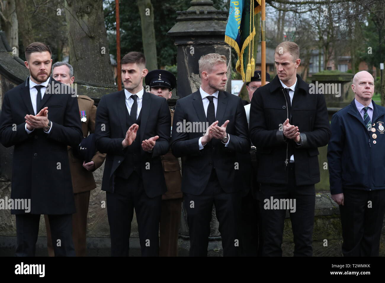 The funeral of England's World Cup winning goalkeeper Gordon Banks at Stoke Minster  Featuring: Jack Butland, Joe Hart, Joe Anyon, Kasper Schmeichel Where: Stoke-upon-Trent, Staffordshire, United Kingdom When: 04 Mar 2019 Credit: John Rainford/WENN - Stock Image