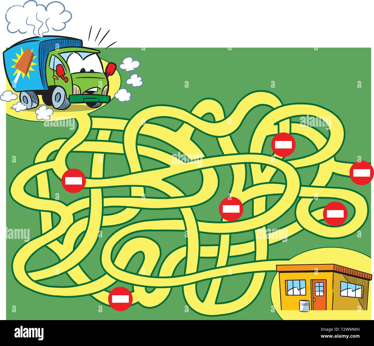 In vector illustration, a logic puzzle for children, in which you need to decide how to get an ice cream truck to the store. - Stock Image