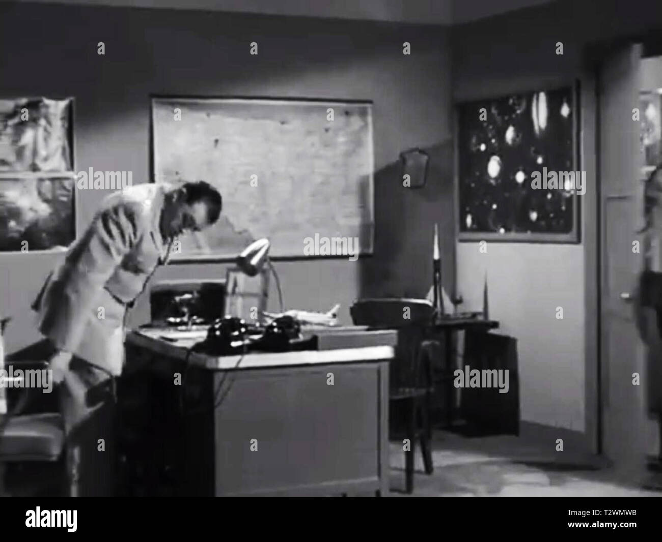Army and navy screen from Plan 9 From Outer space - Lyle Talbot - Ed Wood Stock Photo