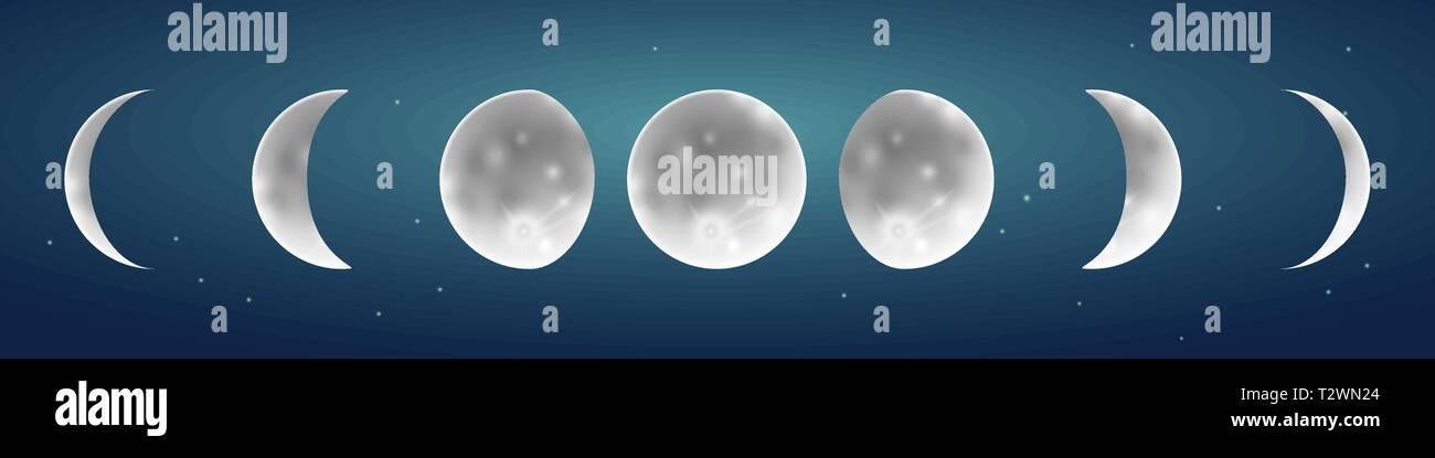 Moon phases in starry sky vector illustration on a starry