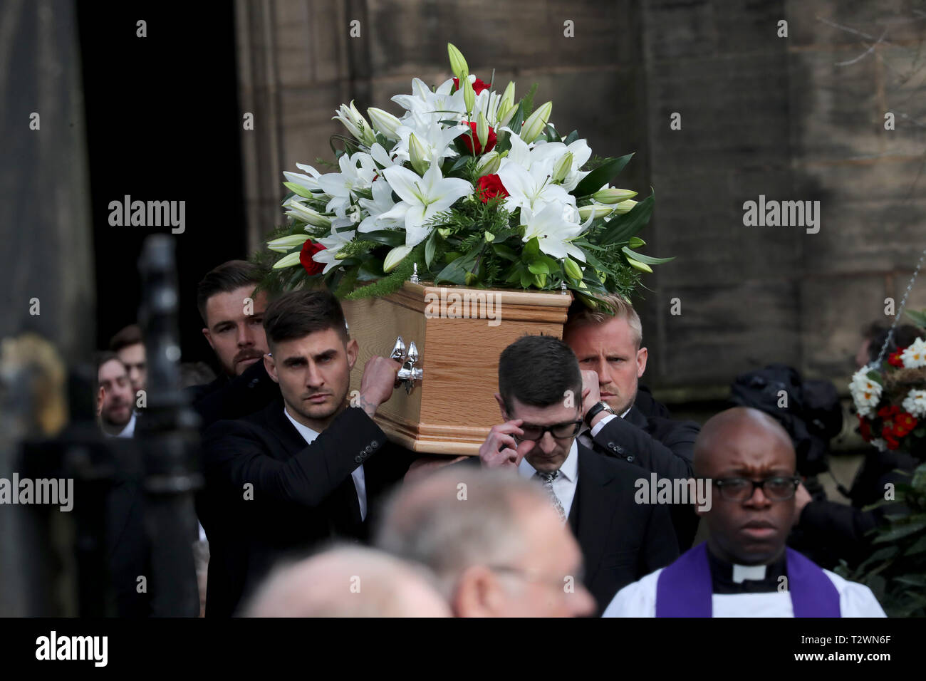 The funeral of England's World Cup winning goalkeeper Gordon Banks at Stoke Minster  Featuring: Joe Anyon, Kasper Schmeichel Where: Stoke-upon-Trent, Staffordshire, United Kingdom When: 04 Mar 2019 Credit: John Rainford/WENN - Stock Image