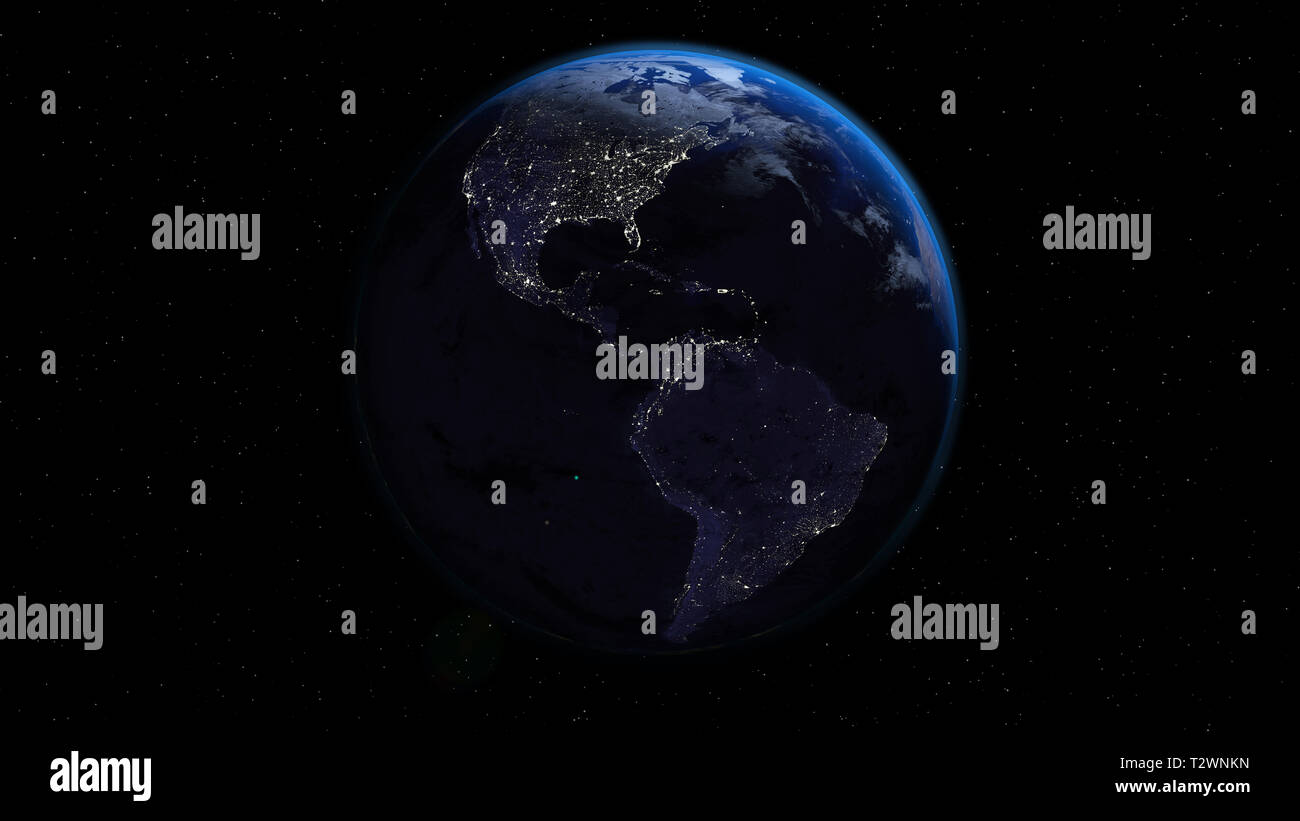 Planet Earth in night time with city lights in space with stars. Americas side. - Stock Image