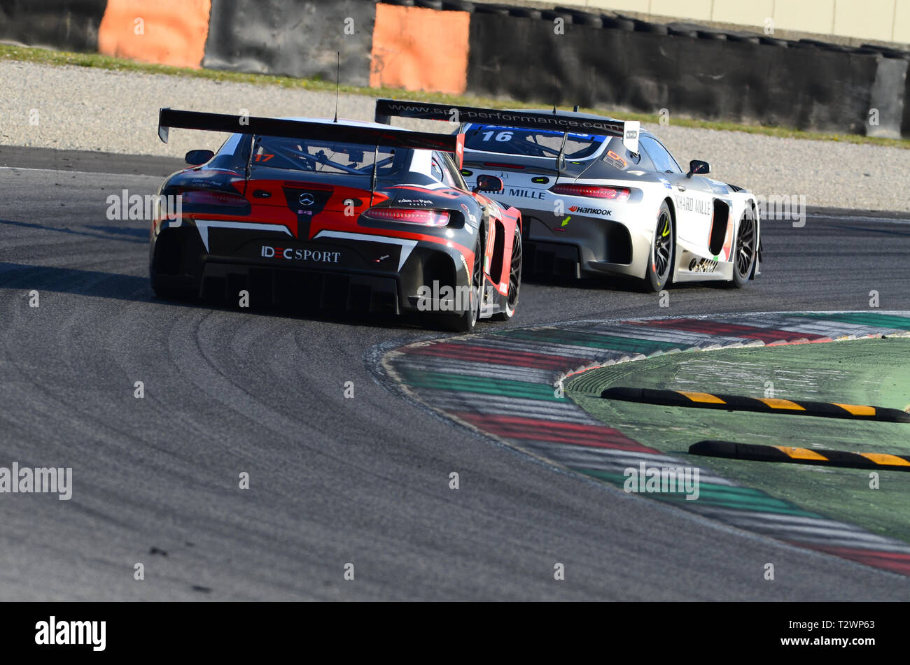 Italy - 29 March, 2019: Mercedes-AMG GT3 of IDEC SPORT RACING France Team driven by Patrice Lafargue/Paul Lafargue/Dimitri Enjalbert in action during  Stock Photo