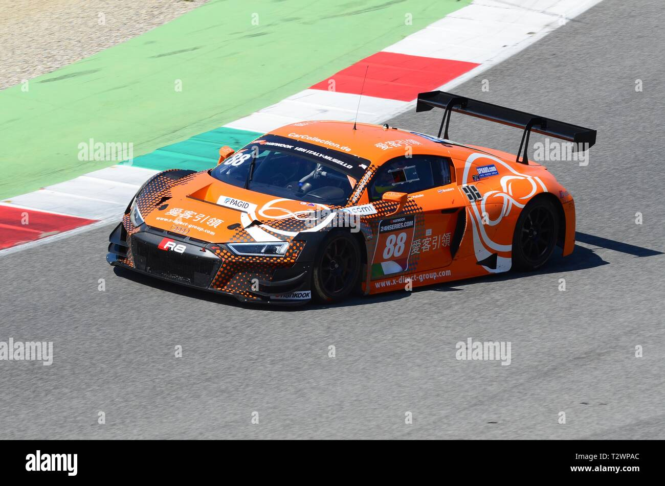 Italy - 29 March, 2019: Audi R8 LMS 2019 of Car Collection Motorsport Germany Team driven by Dimitri Parhofer/Rik Breukers/Markus Pommer/Toni Forné. Stock Photo