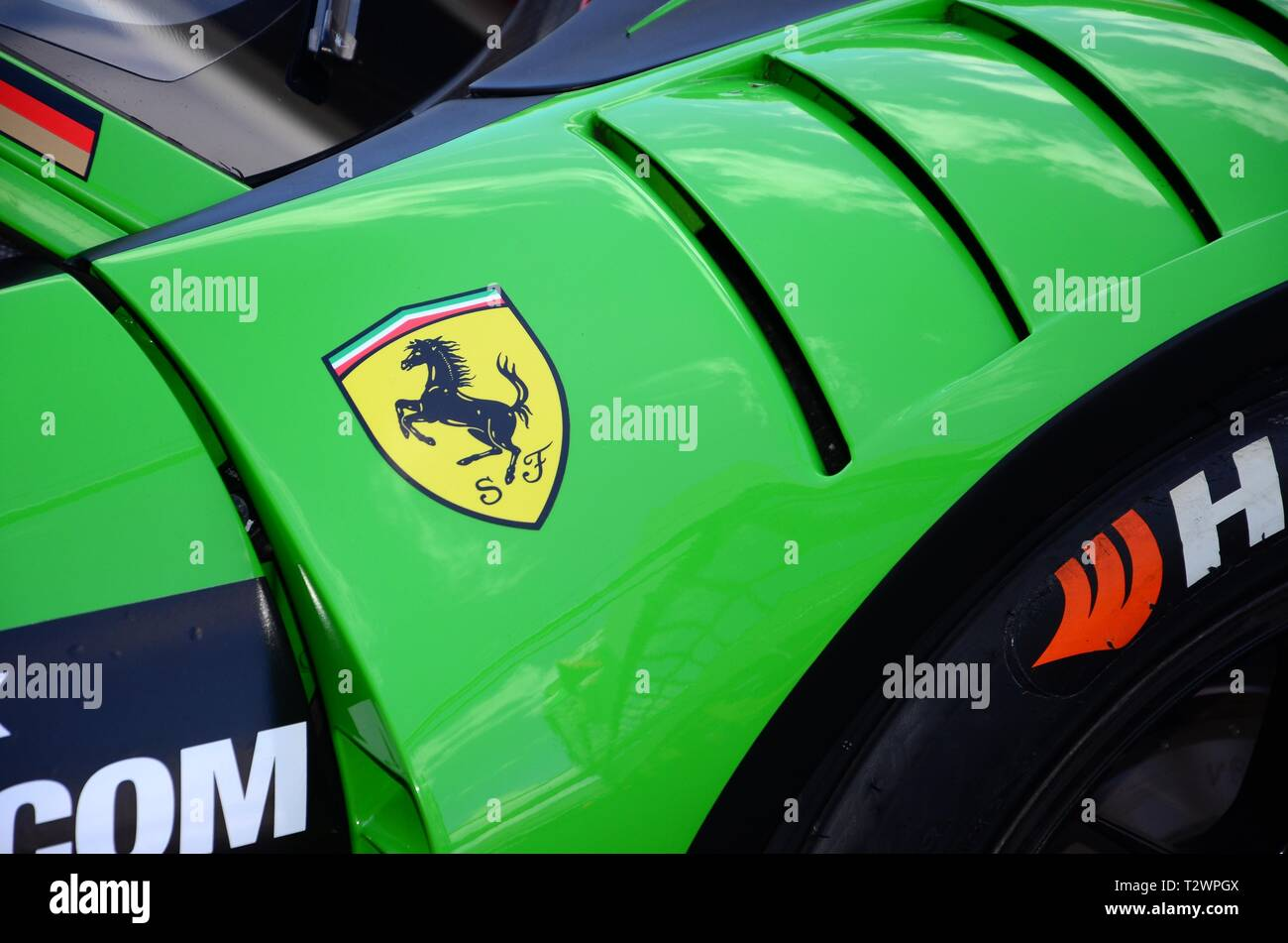Italy - 29 March, 2019: Ferrari 488 GT3 of Rinaldi Racing Team driven by Pierre Ehret/Rory Penttinen/Martin Berry/Florian Scholze at 12h Hankook. Stock Photo