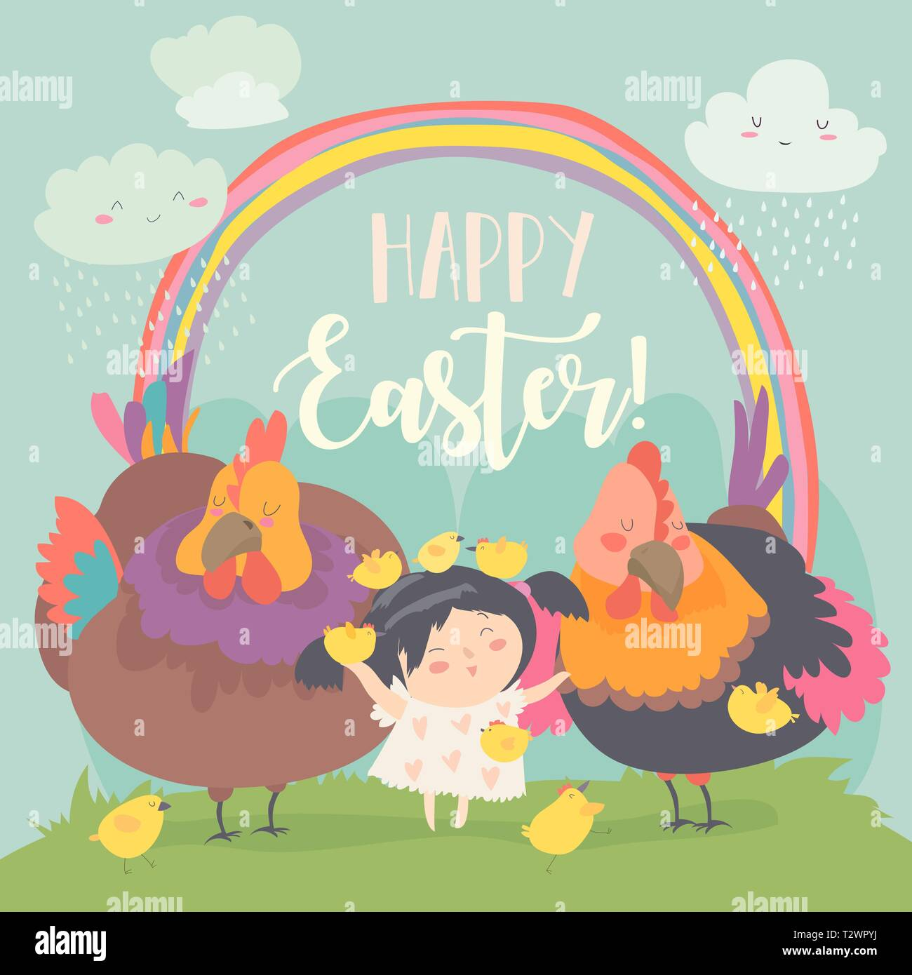 Cute little girl with funny chickens. Happy Easter. Vector greeting card - Stock Image