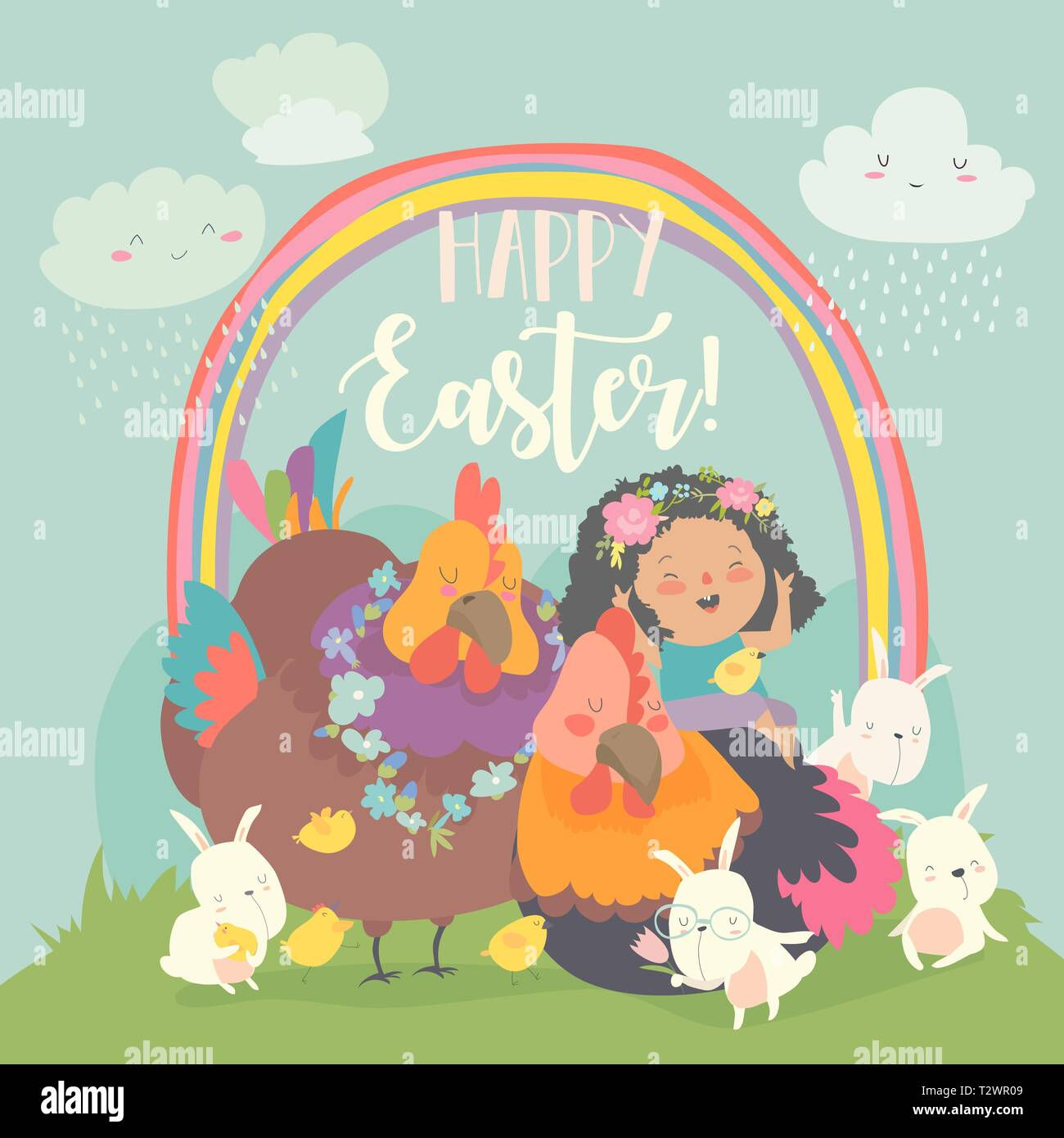 Cute little girl with funny chickens and rabbits. Happy Easter. Vector greeting card - Stock Image