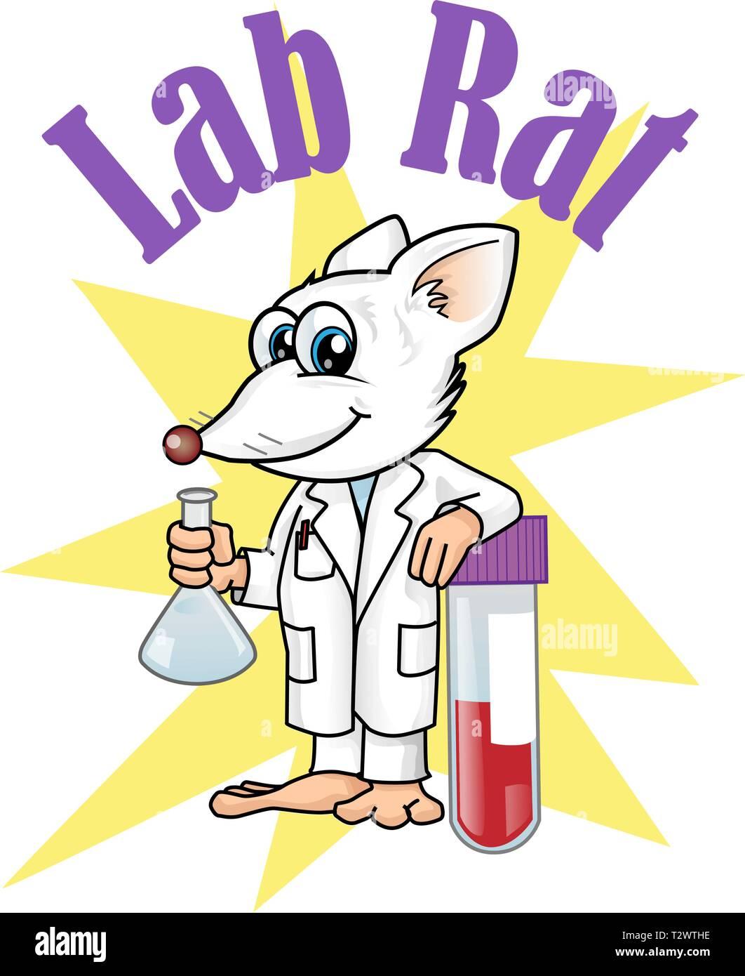 rat lab character cartoon. vetcor illustration - Stock Vector
