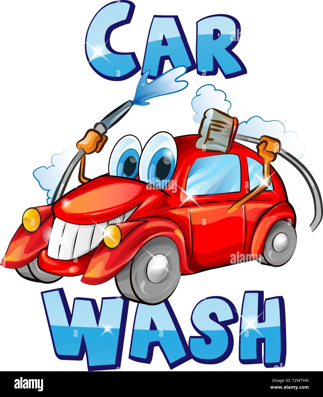 Vector sign. Car wash character cartoon. vector illustration - Stock Image