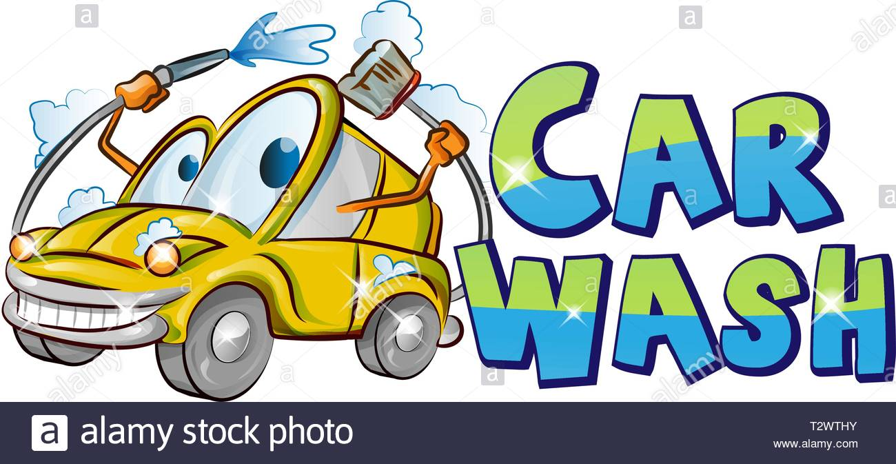 Yellow Car Wash Character Cartoon Over Background White Vector