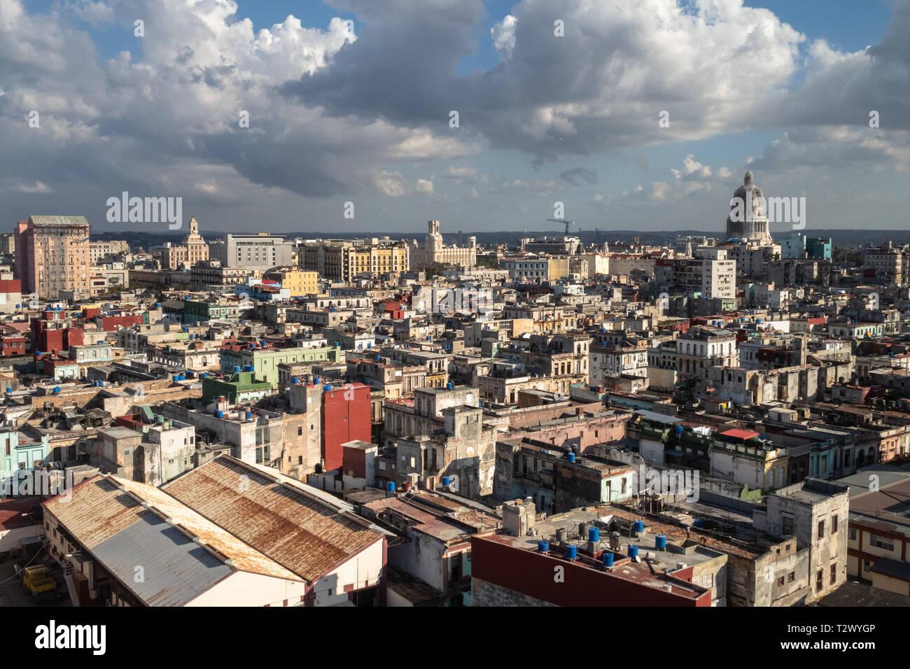 View over the rooftops in Havana, Cuba - Stock Image